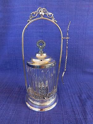 SilverPlate PICKLE CASTOR clear pickle jar with vertical cuts with fork ANTIQUE