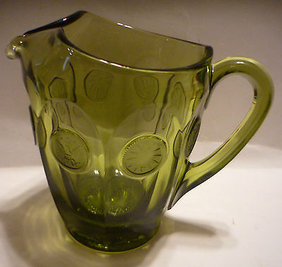 Fostoria American Heavy Glass Frosted Coins Avocado Green 32 Oz Water Pitcher