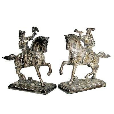 Vintage Lady & Man Horse Bookends Statue Pair Hunter Rider Silver Plated Figure