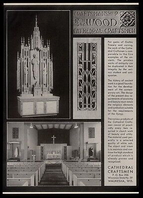 1952 Cathedral Craftsmen church carvings decoration photo vintage print ad