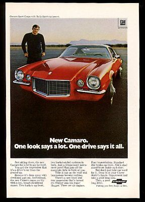 1970 Chevy Camaro red Rally Sport car color photo Chevrolet vintage print ad