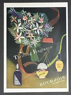 1940's Bourjois Fragrance Original Advertisement Perfume Paris Flowers Print AD