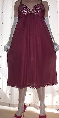 Burgundy silky nylon lace bra full slip~nightie~gown size ex~large bust 42""