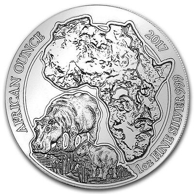 RWANDA 50 RWF Argent 999/1000 1 Once 2017 Hippopotame - 1 Oz silver African Hip