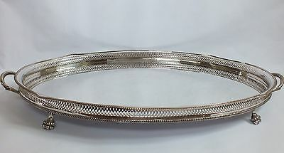 """Large 28"""" Vintage Silver Plated Oval Gallery Tray – Copper Base Almost 3kg"""