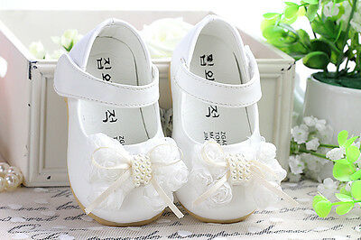 New Baby Girls White Christening Shoes 18-24 Months