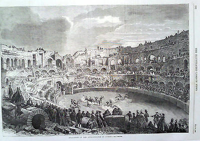 1863 Print Bull Fight In The Amphitheatre Of Nismes  (Nimes)