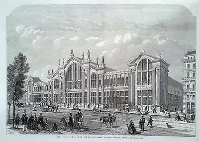 1863 Print The Principal Facade Of The New Northern Railway Station ,paris