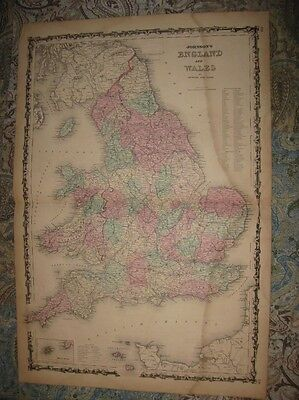 Huge Gorgeous Antique 1862 England Wales Johnson Handcolored Map County Railroad
