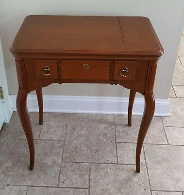 Vintage Queen Anne Style Sewing Machine Cabinet Bench Singer 201 Cherry