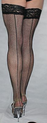 Large Black Seamed Fine Fishnet Luxury Lace Top Nylon/Lycra Holdup High Quality