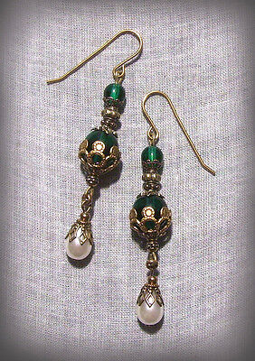 Filigree Emerald Green Pearl Glass Tear Drop Earrings Renaissance Victorian