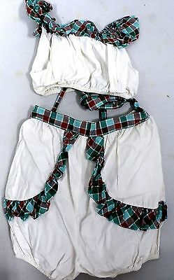 VTG Girls 2 PC Cotton Midriff Set 1940s  Trim Bubble Butt Freckles Deluxe