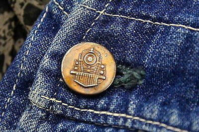 Boys Denim Coveralls VTG1950's Workwear Jeans  Copper Locomotive Train Button