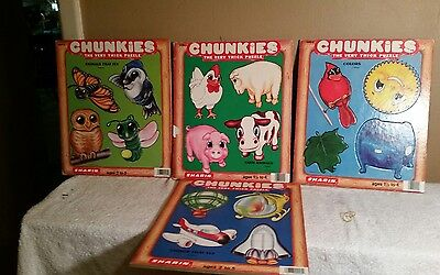Lot Of 4 Chunkies Very Thick Puzzles For Children