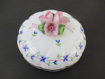 Herend Blue Garland Shallow Covered Bowl With Rose Finial