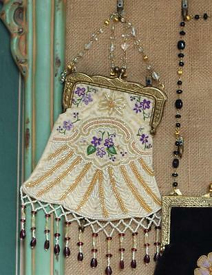 Victorian Ivory BEADED RETICULE w/ kiss clasp Dickens Steampunk SASS
