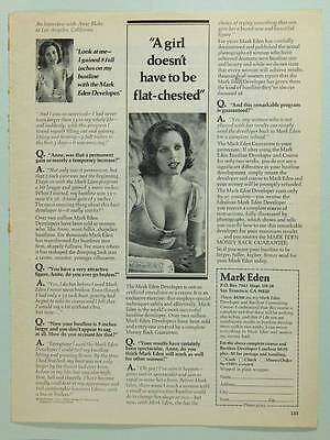 1974 Mark Eden Bust Developer - Vintage Magazine Ad Page - Anne Blake