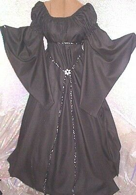 RENAISSANCE  fantasy Chemise Black fairy puff sleeve GOTH long gown  one size