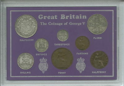 1921-1926 King George V Second Type Great Britain Coin Gift Set in Display Case