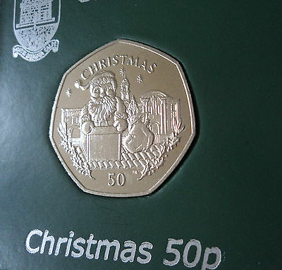 1998 Gibraltar Christmas Santa Claus Chimney 50p Coin (BU) Cased Collector Gift