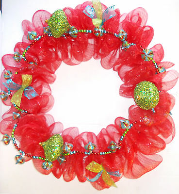 Christmas Holiday Deco Mesh Red Green Garland 30' New OOAK
