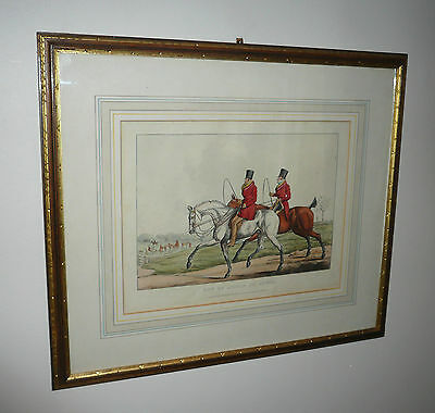 Antique Original English Hunting Scene Engraving Hand Colored Dated 1821