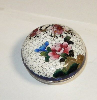 Small White Blue Inaba Floral Design Cloisonne Enamel Box Signed
