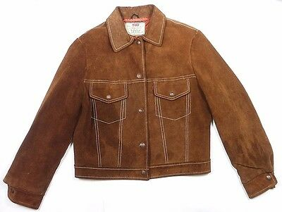 VINTAGE 80's LEVIS TYPE-III SUEDE LEATHER BIG E TRUCKER JACKET 36 S/XS