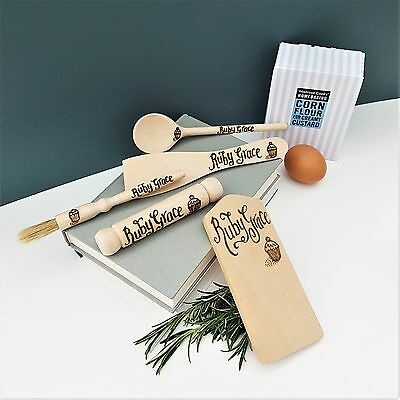 Personalised Wooden Miniature Baking Set, childs gift, mini cookset customised