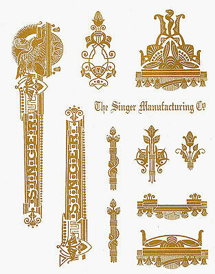 Singer Model 15 Sphinx Style Sewing Machine Restoration Decals
