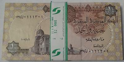 2007 Egypt, 1 Pound X 100 Notes, Full Bundle, Incl. Many Fancy Serial Numbers