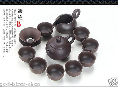 11pcs/lot High quality original ore zisha stoneware kung fu tea set pot tea cup