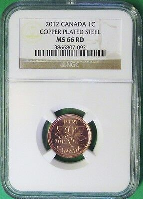 2012 Canada 1C Ngc Ms 66 Rd Copper Plated Steel Cent!