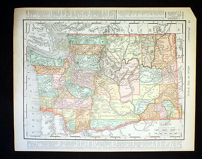 Antique Map State of Washington or State of Oregon 1898 Color