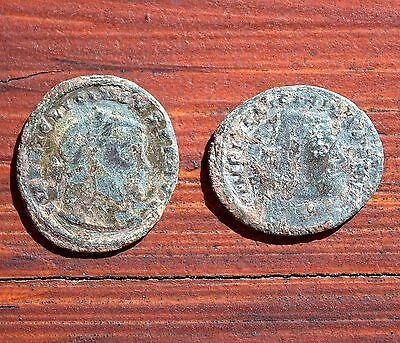 2 Ancient Bronze Roman Coins Artifacts Gladiator Fighter On Back LOT #3