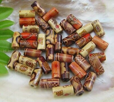 wholesale Mix 200pcs hand Painted Tube wood spacer beads 6X12mm