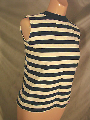 Vintage 70s Sleeveless Top Shirt Cotton STRIPES 34 S Knit
