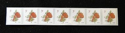 # 5201 US Strawberries 3c coil strip 7 with plate number MNH 2017  free shipping