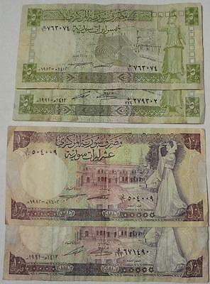 1982 & 1991 Syria, 5 & 10 Pounds, 4 Different Circulated Notes