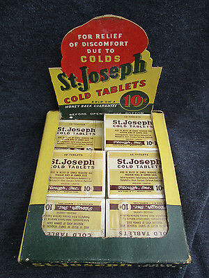 VINTAGE ST. JOSEPH ASPIRIN COLD TABLETS 11 FULL BOXES w STORE DISPLAY BOX