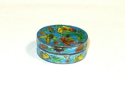 Chinese Butterfly Design Sterling Silver Cloisonne Enamel Pill Snuff Jar Box