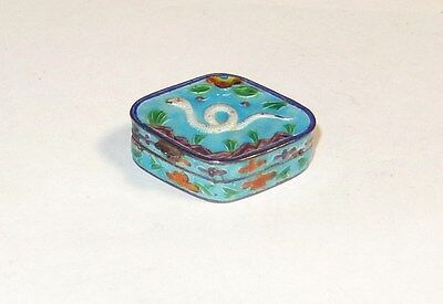 Chinese Snake Design Sterling Silver Cloisonne Enamel Pill Snuff Jar Box