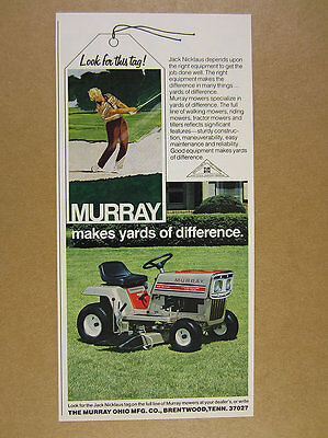1977 Murray 10 hp Tractor Riding Mower color photo vintage print Ad