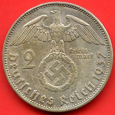1937 'A' Germany 2 Mark Coin ( 8 Grams .625 Silver )