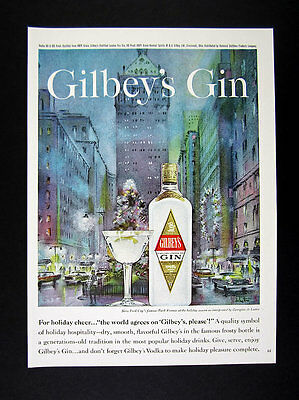 1961 Park Avenue New York City Holidays painting art Gilbey's Gin print Ad