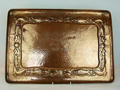 A Wonderful Large Arts and Crafts Newlyn School Copper Tray w/ Fish & Shells.
