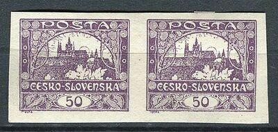 CZECHOSLOVAKIA;  1918 early Imperf issue Mint hinged 50h. Pair