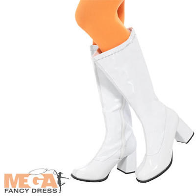 White GoGo Boot Covers Adult Fancy Dress Retro 60s 70s Groovy Costume Accessory