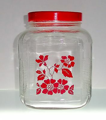 Anchor Hocking Hall RED POPPY 1 Gallon Square Glass Jar with Red Plastic Lid